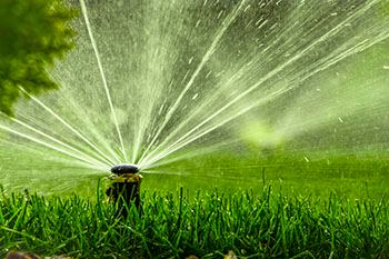 sprinklers being blowed out by birch's lawn care and landscaping services